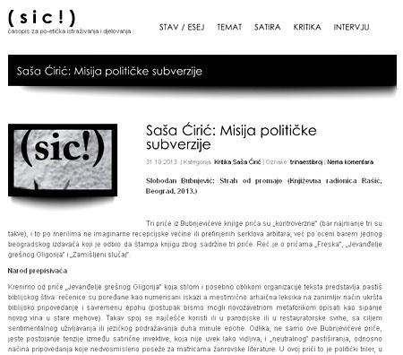 Kritika Saše Ćirića